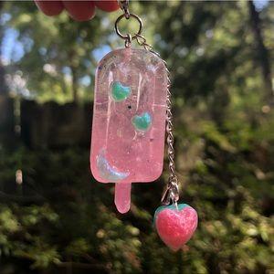 Handmade Kawaii UV Resin Popsicle / Heart Keychain